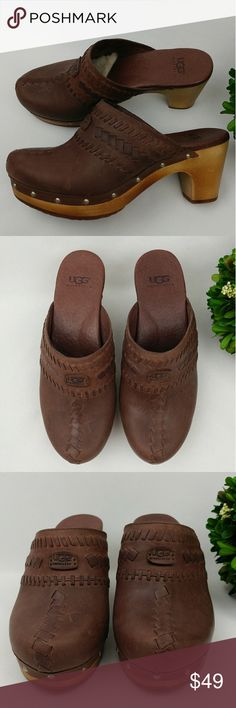 "UGG leather clog mules wooden heel w/ shearling UGG Australia leather clog mules with wooden platform heel and shearling lined forefoot for comfort. Woven detailing on the leather with nail heads around the outsole  Slight scuffs on the outside. (You can probably get it fixed with leather polish if youd like) A scuff in the front of the left shoe and some scratches on the heels.  Size 6  2 3/4"" heel   1"" platform. UGG Shoes Mules & Clogs"