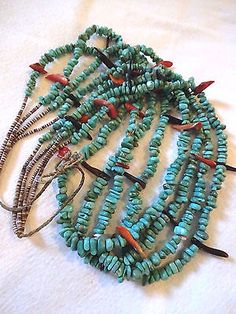 Gorgeous-Vintage-KEWA-Santo-Domingo-Pueblo-4-Strand-TURQUOISE-amp-Shell-NECKLACE Zuni Jewelry, Ethnic Jewelry, Cowgirl Style, Western Style, Bo Ho, Shell Necklaces, Native American Jewelry, Turquoise Jewelry, Jewelry Ideas
