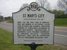 MARYLAND   St Mary's City Historic Marker, via Flickr.