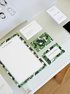 Stationary border matches design of the front and back of business card