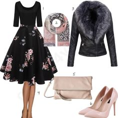 Elegantes Damenoutfit mit Blumenkleid und Pumps (w0884) #kleid #schal #pumps #clutch #outfit #style #fashion #womensfashion #womensstyle #womenswear #clothing #frauenmode #damenmode #handtasche #inspiration #frauenoutfit #damenoutfit