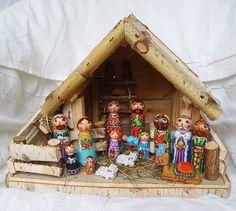 Conjunto de Navidad Natividad familia tres reyes santos pintado estatuilla de madera escena creche cuna bebé Jesucristo Joseph Mother Mary peg muñeca del ángel