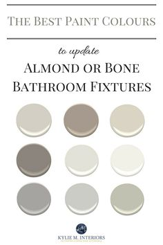 The Best Paint Colours for an Almond / Bone Bathroom The best paint colours to update a bathroom with almond or bone toilet, sink, tub, shower or fixtures. Kylie M Interiors E-design and Online Color Consultant Best Paint Colors, Paint Colours, Grey Colors, Beige Bathroom, Master Bathroom, Modern Bathroom, Bathroom Green, Downstairs Bathroom, Ikea Bathroom