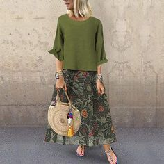 Casual Printed Maxi Dress Size Chart Bust Length cm inch cm inch S 92 103 M 96 104 L 100 105 XL 104 106 108 107 112 4 Vacation Dresses, Day Dresses, Casual Dresses, Summer Dresses, Sleeve Dresses, Long Dresses, Mode Outfits, Fashion Outfits, Womens Fashion