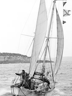 Circa 22nd April 1969: Robin Knox-Johnston waving aboard his 32ft yacht SUHAILI off Falmouth, England after becoming the first man to sail solo non-stop around the globe. PHOTO CREDIT: Bill Rowntree/PPL