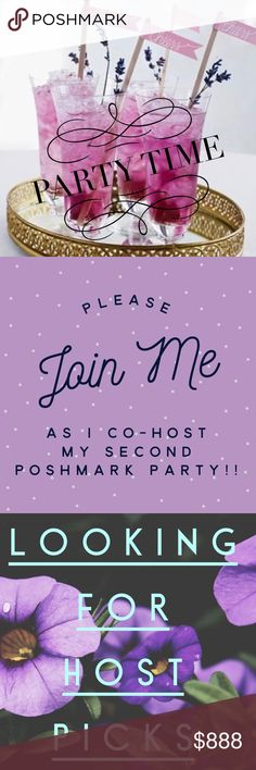 PARTY TIME— Please Join Me April 24th at 7 PM PST I am Co-Hosting My 2nd Posh Party on 4/24/2018 @ 7PM PST!!!!  PLEASE JOIN ME!!  I am looking for Host Picks!!!  Posh Compliant Closets only!!!!! EVERY Dresses