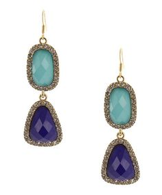 Take a look at this Navy & Gold Mosaic Stone Earrings by Olivia Welles on #zulily today!
