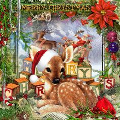 ღೋ❤ Baby's Christmas ❤ღೋ ~ Blingee by stina scott ~ deer, fawn, Santa Claus Merry Christmas Images, Beautiful Christmas Cards, Christmas Pictures, Christmas Greetings, Babys 1st Christmas, Cozy Christmas, Vintage Christmas, Christmas Holidays, Hello Kitty Christmas