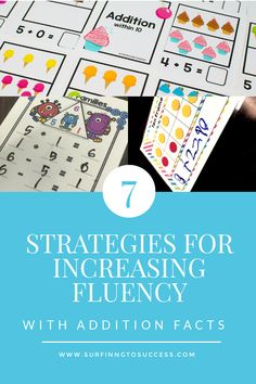 Addition Facts Strategies for Increasing Fluency - Surfing to Success Teaching Addition, Addition Games, Addition And Subtraction, Addition Strategies, Addition Worksheets, Math Strategies, Math Addition, Math Resources, Math Activities