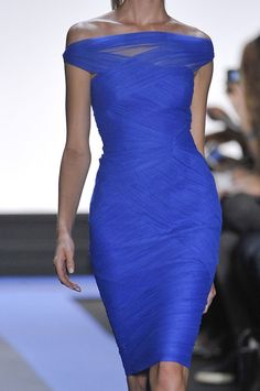 Monique Lhuiller 2012 - lovely cocktail dress, beautiful shade of blue