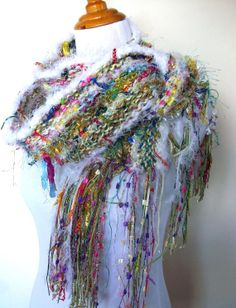 Fairyland Hand Knit Scarf White with Multicolored Tones by Fanchi, $40.00