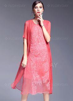 Dresses - $103.52 - Silk Solid Short Sleeve Mid-Calf Casual Dresses (1955101091)