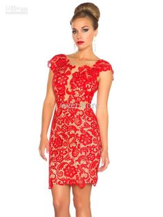 Red Lace Prom Dress Cap Sleeves Backless