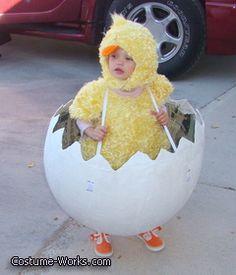 Chicken in the Egg - hysterical DIY Halloween costume for baby! Farm Costumes, Chicken Costumes, Family Halloween Costumes, Diy Costumes, Costume Ideas, Homemade Costumes, Costume Halloween, Diy Halloween, Halloween Scarecrow