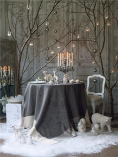 Grey and white Christmas Table.