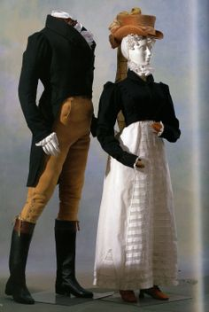 7. Empire (1815) The woman is wearing a spencer (or hunting) jacket and a petticoat, and the man is wearing a jacket with tails and breeches.