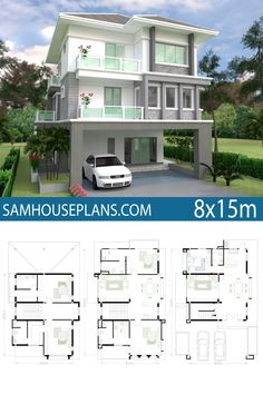 House Plan with 5 Bedrooms - Sam House Plans Building Design Plan, Home Design Plans, 5 Bedroom House Plans, House Floor Plans, The Plan, How To Plan, Indian House Plans, Architectural House Plans, House Map