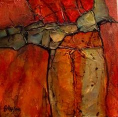 CAROL NELSON FINE ART BLOG - Canyon Colors - This geologic abstract has large areas of painted aluminum foil.  When painted with a transparent fluid acrylic, the effect is a soft metallic glow on the surface.