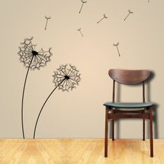 Dandelion decals...makes you wanna make a wish huh? $45.00 at http://www.etsy.com/listing/78808955/wall-decals-dandelions-in-the-wind-wall?ref=cat1_gallery_20