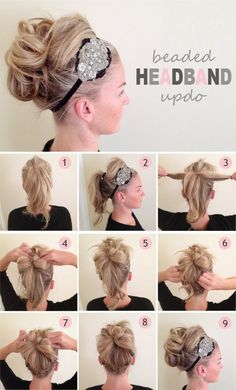 Beaded Headband Updo | 10 Beautiful & Effortless Updo Hairstyle Tutorials for Medium Hair | Gorgeous DIY Hairstyles by Makeup Tutorials at http://makeuptutorials.com/10-beautiful-effortless-updo-hairstyle-tutorials-medium-hair/