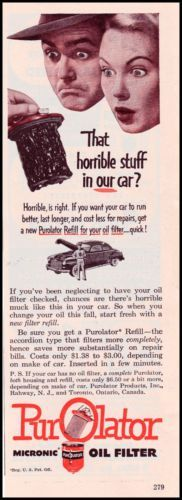 1950-PUROLATOR-MICRONIC-OIL-FILTER-Original-Vintage-Print-Ad