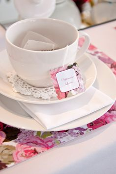 High Tea Party Place Setting with: Doilies under the Teacups + Tea Bags inside the Cups!
