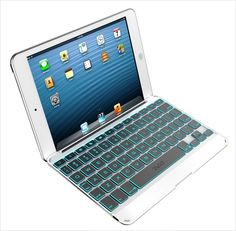 ZAGG Backlit Bluetooth Keyboard Folio Cover for iPad Mini 1 2 & 3 Retina White Mini Keyboard, Keyboard Cover, Bluetooth Keyboard, Keyboard Keys, Ipad Mini 2, Apple Ipad, Design, Ebay, Gadgets