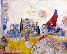 The Athenaeum - Pierrot and Skeleton in a Yellow Robe (James Ensor - )