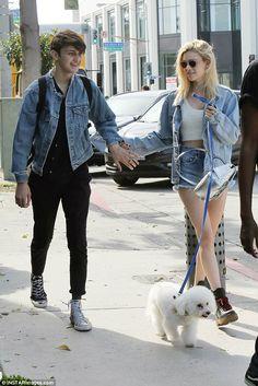 Denim darlings: Anwar Hadid and girlfriend Nicola Peltz looked adorable in matching jackets on Tuesday