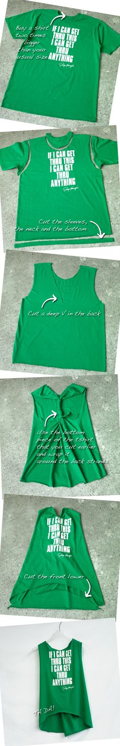 Ladies, customize your Get Thru Anything Tee into a sweet tank! I found this DIY method on Pinterest and did one of my own for you.