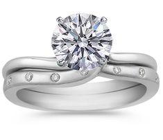 Swirl Diamond Bridal Set: Engagement Ring & matching wedding ring
