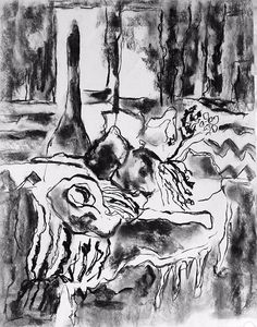 Chava Silverman - Expressionist still life study drawing in charcoal on paper.