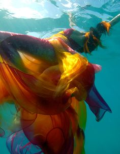 #underwater #shoot #model #water #swim #color #dress