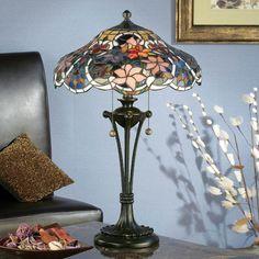 Lampada da Tavolo Tiffany o da Scrivania con Fiori Colorati