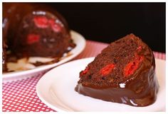 1 box (18-oz.) devil's food cake mix  1/4 c. vegetable oil  3 large eggs  1/2 c. water  1-1/4 c. cherry pie filling  1 c. semi-sweet chocolate chips    for the chocolate glaze:  1/2 c. heavy cream  2 T. light corn syrup  pinch of salt  1 c. semi-sweet chocolate chips