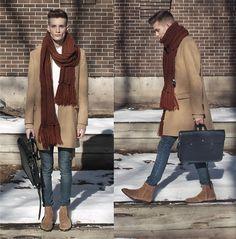 Club Monaco Camel Wool Coat, H&M Oversized Scarf, H&M Jeans, Aldo Suede Boots, Cambridge Satchel Music Bag, Oak + Fort Doro Shirt