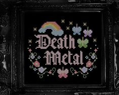 Death Metal Cross Stitch Pattern - Hail Satan, Black Metal, Occult, Gothic, Pastel, Rainbow, Butterfly
