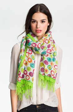 Nordstrom 'Delicate Dots' Linen Blend Scarf available at #Nordstrom