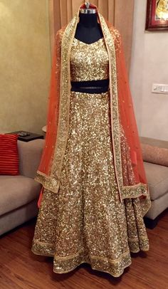 Sabyasachi Inspired Full Gold Sequin Lehenga