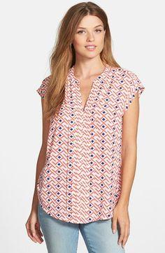 Caslon® Pleat Front Cap Sleeve Blouse | Nordstrom