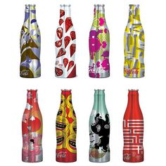 These are 8 different designs for the limited edition of Coke bottles for the summer campaign of 2009.