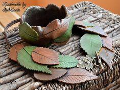 Leaf jewelry Polymer clay jewelry Leaf by HandmadeByAleksanta