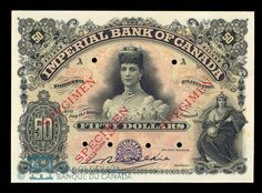 Our guide has value and price information for all bank notes printed by The Imperial Bank of Canada in Toronto. Contact us for a free appraisal of your old money. Canadian Coins, Canadian History, John Wayne Western Movies, Buddhist Wisdom, Rare Coins Worth Money, History Posters, Puerto Rico History, Money Notes, Id Card Template