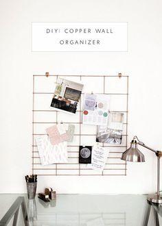 DIY Copper office wall organizer.
