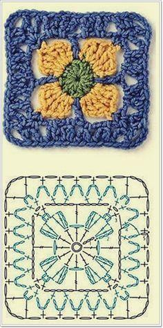 Transcendent Crochet a Solid Granny Square Ideas. Inconceivable Crochet a Solid Granny Square Ideas. Crochet Square Patterns, Crochet Motifs, Crochet Blocks, Crochet Diagram, Crochet Chart, Crochet Squares, Knitting Patterns, Granny Squares, Crochet Afghans