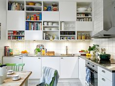 Love the cabinets (and option of some open storage) and counter tops, but in my dream kitchen, I'd be doing white glass subway tile.