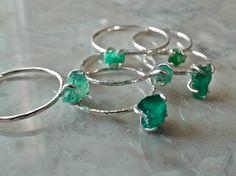 RAW EMERALD RING. Rough natural emerald door EmersonKateDesigns