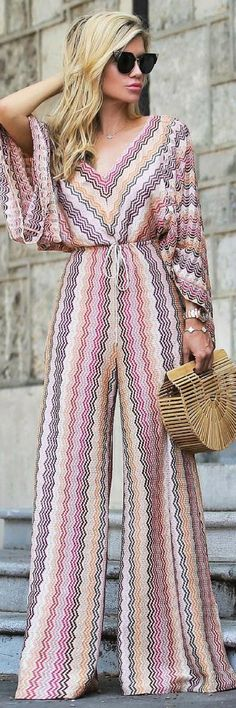 Get This Beautiful Knit Jumpsuit That Will Make Heads Turn - How To Style By Shop The Look: Crochet-Knit Jumpsuit by Missoni , Chic Outfits, Spring Outfits, Fashion Outfits, Womens Fashion, Style Fashion, Mode Kimono, Mode Hijab, Female Models, Women Models