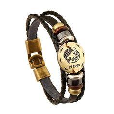 Braccialetto in pelle e cuoio Zodiaco Pesci - Vintage Etnico Retro    Bracciale in perfetto stile etnico/retro, fatto con un intreccio di corde in pelle e in cuoio, con degli anelli in acciaio di vari colori.  Medaglia in color oro con intagliato il segno zodiacale.    Chiusura del bracciale intuitiva e semplice    Misura bracciale: 21cm | Shop this product here: http://spreesy.com/Gstore/4 | Shop all of our products at http://spreesy.com/Gstore    | Pinterest selling powered by Spreesy.com