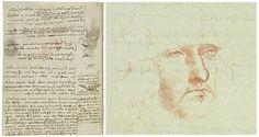 Leonardo da Vinci, Codex on the Flight of Birds. On the right, an enhanced detail of the hidden self-portrait